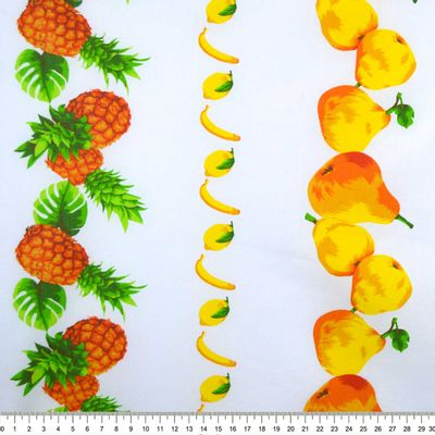 Tecido-Tricoline-Estampado-Barrado-Frutas---Abacaxi-Banana-Pera