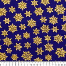 Tecido-Tricoline-Natal-Cristais-De-Neve-Dourado-Fundo-Azul