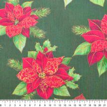 Tecido-Tricoline-Natal-Flor-Poinsetia-Grande-Fundo-Verde