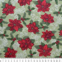 Tecido-Tricoline-Natal-Flor-Poinsetia-Vermelha-Fundo-Verde