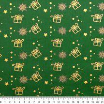 Tecido-Tricoline-Natal-Presentinho-Dourado-Fundo-Verde