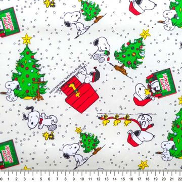 Tecido-Tricoline-Natal-Colecao-Snoopy-Natal-Fundo-Creme