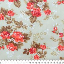 Tecido-Tricoline-Estampado-Floral-Iris-Coral-Fundo-Bege
