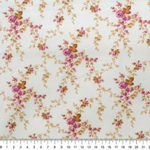 Tecido-Tricoline-Estampado-Floral-Sarah-Magenta-Fundo-Bege