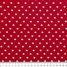 Tecido-Tricoline-Estampado-Textura-Coracao-Branco-Fundo-Vermelho-Della-Aviamentos..