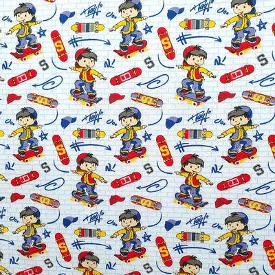Tecido-Tricoline-Estampado-Infantil-Menino-no-Skate-Fundo-Branco-Della-Aviamentos
