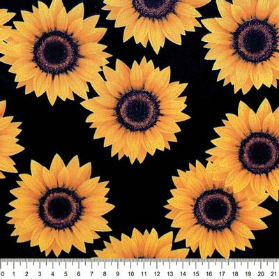 Tecido-Tricoline-Estampado-Floral-Girassol-Grande-Fundo-Preto-Della-Aviamentos