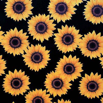 Tecido-Tricoline-Estampado-Floral-Girassol-Grande-Fundo-Preto-Della-Aviamentos.