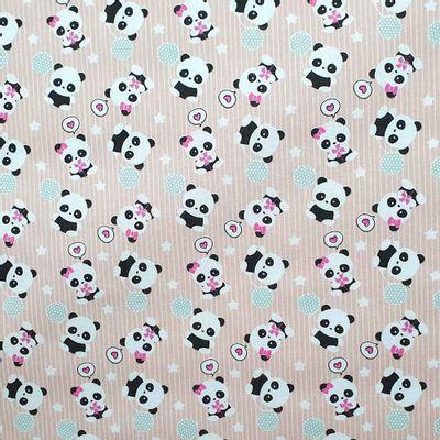 Tecido-Tricoline-Estampado-Infantil-Urso-Panda-Fundo-Salmao-Della-Aviamentos.
