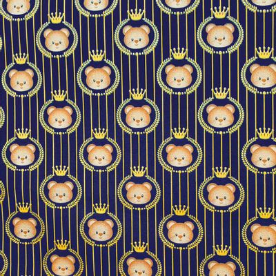 Tecido-Tricoline-Estampado-Infantil-Urso-Coroa-Fundo-Azul-Marinho-Della-Aviamentos