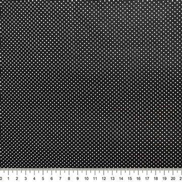 Tecido-Tricoline-Estampado-Poa-Mini-branco-Fundo-Preto-Della-Aviamentos.