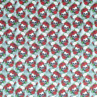 Tecido-Tricoline-Digital-Caveira-Rosas-Della-Aviamentos