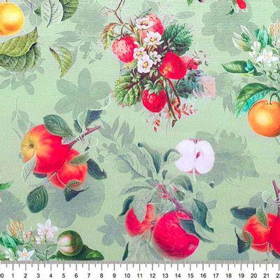 Tecido-Tricoline-Digital-Frutas--Fundo-Verde-Della-Aviamentos.