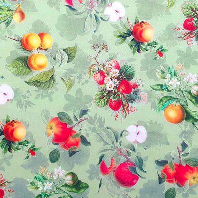 Tecido-Tricoline-Digital-Frutas--Fundo-Verde-Della-Aviamentos