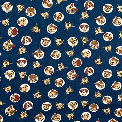 Tecido-Tricoline-Estampado-Animais-Cachorro-Fundo-Azul-Petroleo-Della-Aviamentos.