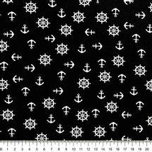 Tecido-Tricoline-Estampado-Textura-Timao-Ancora-Fundo-Preto-Della-Aviamentos.