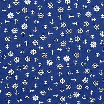 Tecido-Tricoline-Estampado-Textura-Timao-Ancora-Fundo-Azul-Della-Aviamentos.