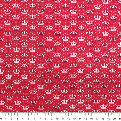 Tecido-Tricoline-Estampado-Coroas-Fundo-Vermelho-Della-Aviamentos