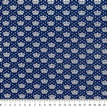 Tecido-Tricoline-Estampado-Coroas-Fundo-Azul-Della-Aviamentos.