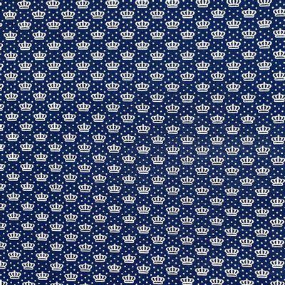 Tecido-Tricoline-Estampado-Coroas-Fundo-Azul-Della-Aviamentos