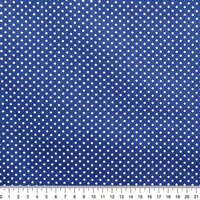 Tecido-Tricoline-Estampado-Poa-Branco-Fundo-Azul-Della-Aviamentos.