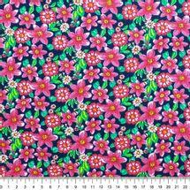 Tecido-Tricoline-Estampado-Floral-Pink-Fundo-Azul-Marinho-Della-Aviamentos..