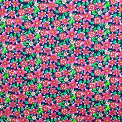 Tecido-Tricoline-Estampado-Floral-Pink-Fundo-Azul-Marinho-Della-Aviamentos