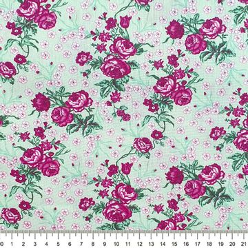 Tecido-Tricoline-Estampado-Floral-Rosas-Fundo-Verde-Agua-Della-Aviamentos.
