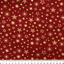 Tecido-Tricoline-Natal-Estrelas-Douradas-Fundo-Vermelho-Della-Aviamentos-8739