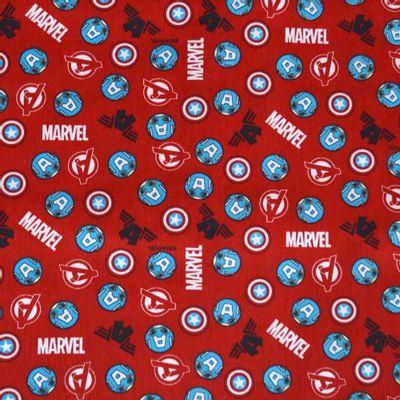 Tecido-Tricoline-Estampado-Colecao-Marvel-Capitao-America-Fundo-Vermelho-Della-Aviamentos.