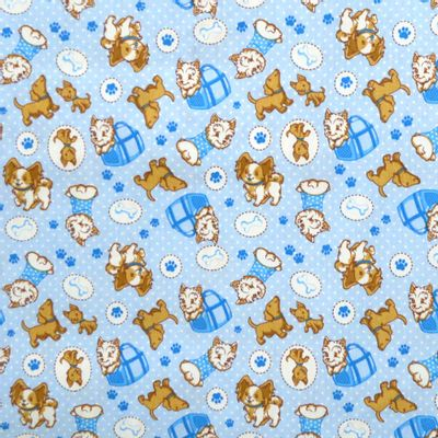 Tecido-Tricoline-Estampado-Cachorro-Puddle-Fundo-Azul-Della-Aviamentos.
