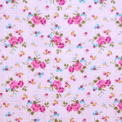 Tecido-Tricoline-Estampado-Floral-Rosa-Fundo-Rosa-Della-Aviamentos.