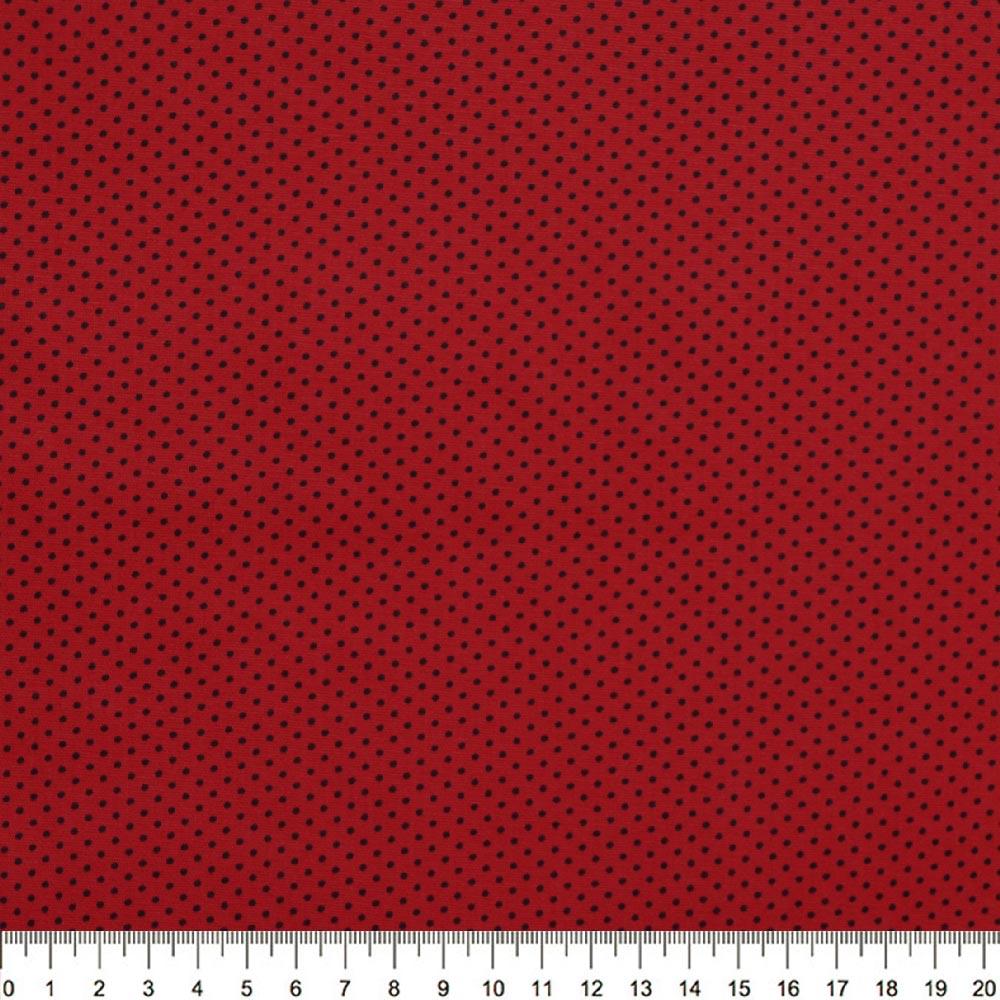 Tecido Tricoline Poá Mini Preto Fundo Vermelho - Della Aviamentos