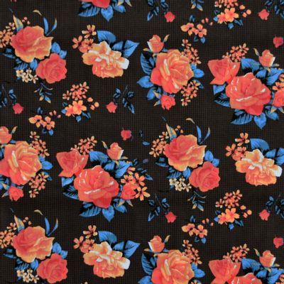 Tecido-Tricoline-Estampado-Floral-Bouquet-Rosas-Fundo-Preto-Della-Aviamentos.