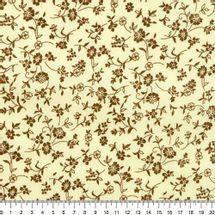 Tecido-Tricoline-Estampado-Floral-Marrom-Fundo-Cru-Della-Aviamentos-7803