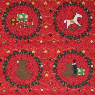 Tecido-Tricoline-Estampado-Natal-Guirlanda-Urso-Fundo-Vermelho-Della-Aviamentos.