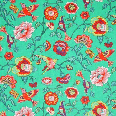 Tecido-Tricoline-Estampado-Floral-Eden-Fundo-Verde-Della-Aviamentos.