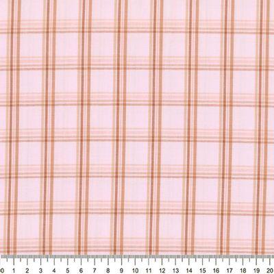 Tecido-Tricoline-Estampado-Xadrez-Marrom-Fundo-Rosa-Della-Aviamentos-7099