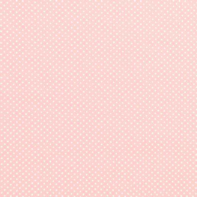 Tecido-Tricoline-Estampado-Poa-Pequeno-Branco-Fundo-Rosa-Bebe-Della-Aviamentos.