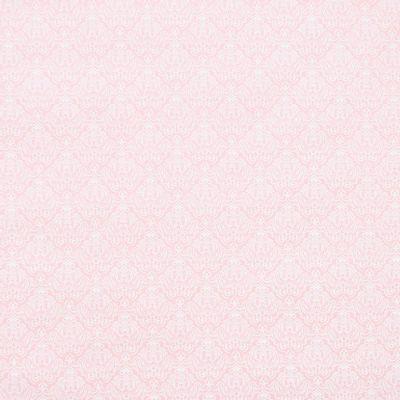 Tecido-Tricoline-Estampado-Arabesco-Branco-Fundo-Rosa-Della-Aviamentos