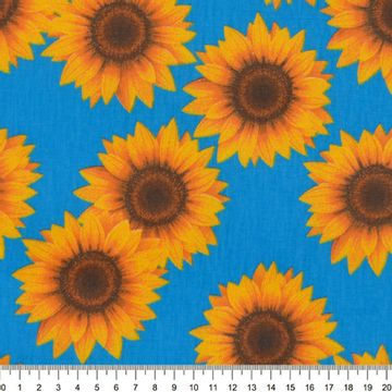 Tecido-Tricoline-Estampado-Girassol-Grande-Fundo-Azul-Della-Aviamentos-9030