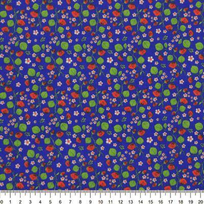 Tecido-Tricoline-Estampado-Floral-Morangos-Pequenos-Fundo-Azul-Royal-Della-Aviamentos-9035