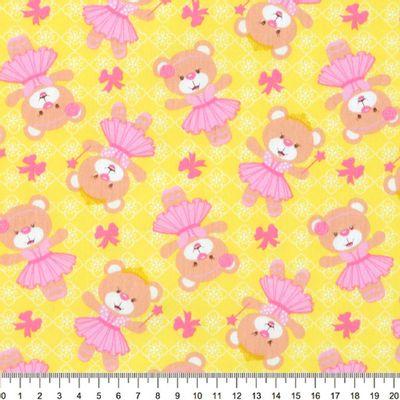 Tecido-Tricoline-Estampado-Infantil-Urso-Bailarina-Fundo-Amarelo-Della-Aviamentos-9033