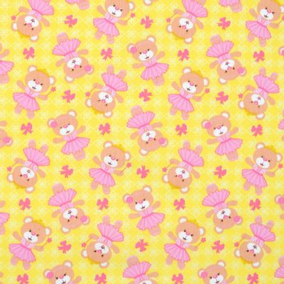 Tecido-Tricoline-Estampado-Infantil-Urso-Bailarina-Fundo-Amarelo-Della-Aviamentos