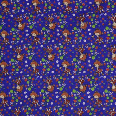 Tecido-Tricoline-Estampado-Meninas-e-Morangos-Fundo-Azul-Royal-Della-Aviamentos