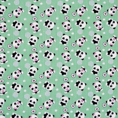Tecido-Tricoline-Estampado-Urso-Panda-Fundo-Verde-Della-Aviamentos
