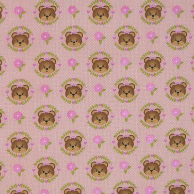Tecido-Tricoline-Estampado-Infantil-Urso-Faces-Fundo-Rosa-Della-Aviamentos