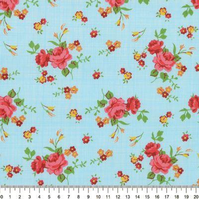 Tecido-Tricoline-Estampado-Floral-Rosa-Fundo-Azul-Riscado-Della-Aviamentos-9046