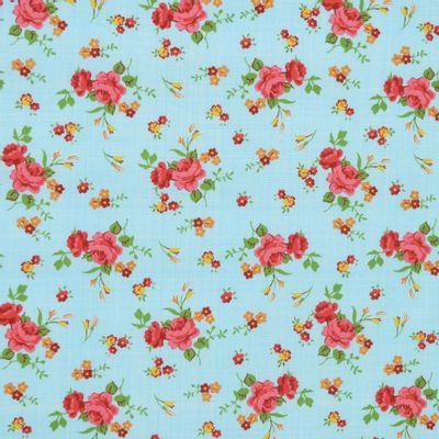 Tecido-Tricoline-Estampado-Floral-Rosa-Fundo-Azul-Riscado-Della-Aviamentos