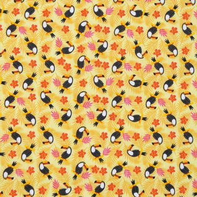 Tecido-Tricoline-Estampado-Animais-Tucano-Fundo-Amarelo-Della-Aviamentos